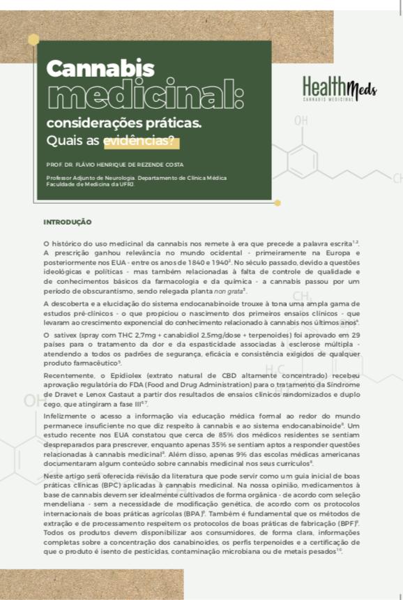 Artigo de Revisão - Cannabis Medicinal: considerações praticas. Quais as evidências?